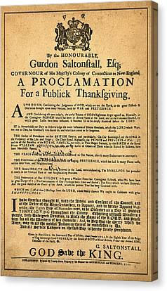 A Proclamation Of Thanksgiving Canvas Print by Bill Cannon
