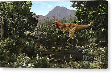 A Protofeathered Lythronax Comes Canvas Print by Arthur Dorety