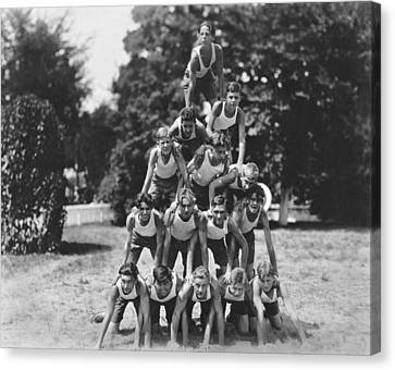 A Pyramid Of Boys Canvas Print by Underwood Archives