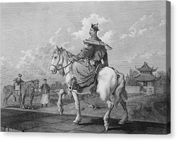 A Quan Or Mandarin Bearing A Letter Canvas Print