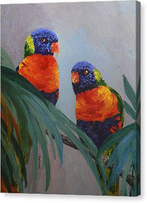 Canvas Print featuring the painting A Quiet Moment Together by Margaret Saheed
