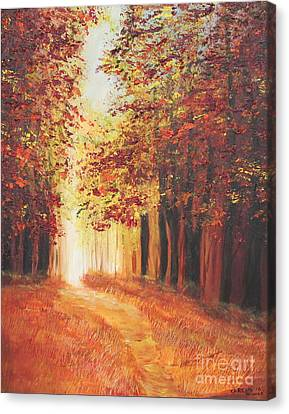 Canvas Print featuring the painting A Quite Walk by Christie Minalga
