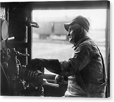 A Railroad Engineer At Work Canvas Print by Underwood Archives