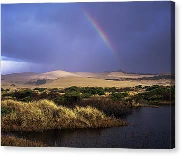 A Rainbow Over The Umpqua Dunes, Oregon Canvas Print by Robert L. Potts