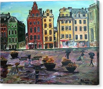A Rainy Day In Gamla Stan Stockholm Canvas Print by Belinda Low