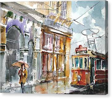 Canvas Print featuring the painting A Rainy Day In Istanbul by Faruk Koksal