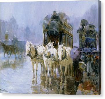 A Rainy Day In Paris Canvas Print by Ulpiano Checa y Sanz