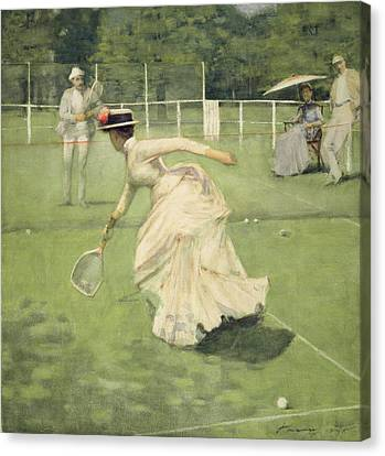 Racquet Canvas Print - A Rally, 1885 by Sir John Lavery