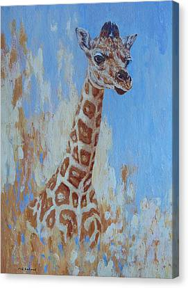 Canvas Print featuring the painting A Rare Giraffe by Margaret Saheed