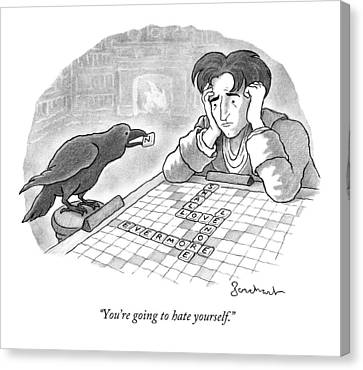 A Raven Is About To Add An N To The Word Evermore Canvas Print