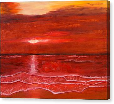 Canvas Print featuring the painting A Red Sunset by J Cheyenne Howell