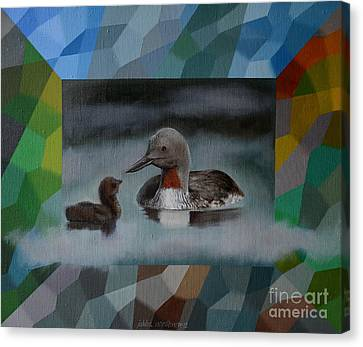 A Red-throated Diver And The Chick Canvas Print by Jukka Nopsanen