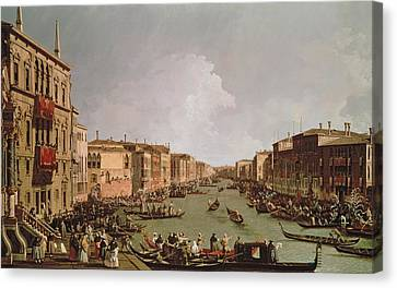 A Regatta On The Grand Canal Canvas Print by Antonio Canaletto