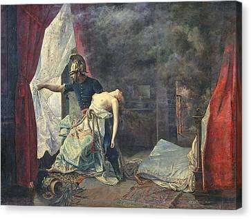 Unconscious Canvas Print - A Rescue In Paris, 1886 Oil On Canvas by Eugenio Alvarez Dumont