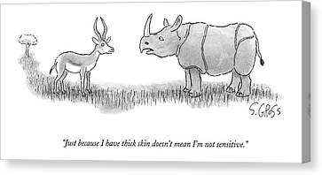 A Rhinoceros Speaks To A Gazelle Canvas Print by Sam Gross