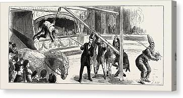A Riding-lesson At Sangers Circus Canvas Print by English School