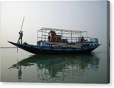 A River Ferry Traveling Through Indias Canvas Print