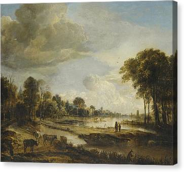 A River Landscape With Figures And Cattle Canvas Print by Gianfranco Weiss