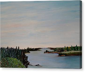 Canvas Print featuring the painting A River Shoreline by Marilyn  McNish