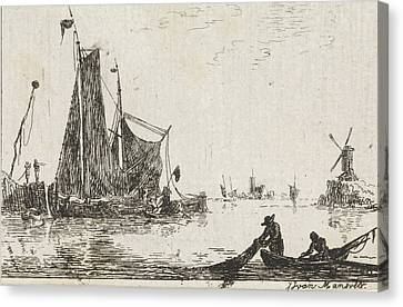 A River View With In The Foreground A Boat With Fishermen Canvas Print