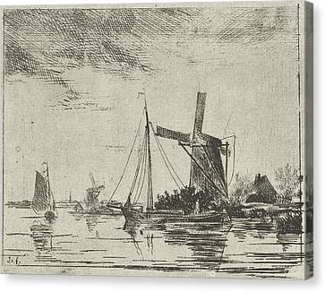 A River View With Some Boats, In The Background A Mill Canvas Print