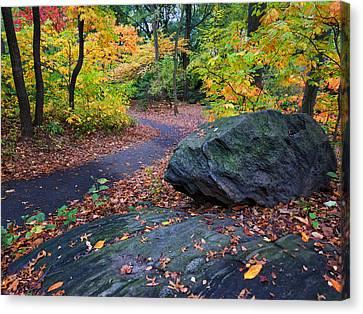 Newyorkcity Canvas Print - A Rocky Autumn In The Ramble by Cornelis Verwaal