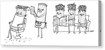 Hair Cuts Canvas Print - A Roman Column Gives Another Roman Column by Edward Steed