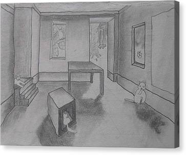 Canvas Print featuring the drawing A Roomful Of Cats by AJ Brown