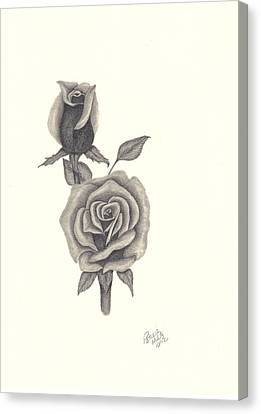 Canvas Print featuring the drawing A Roses Beauty by Patricia Hiltz