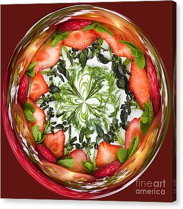 A Round Of Fresh Fruit Salad Canvas Print by Anne Gilbert