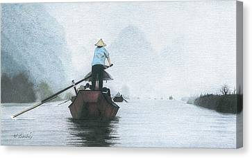 A Rower Woman Canvas Print by Wilfrid Barbier