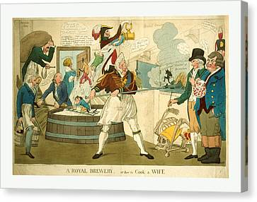 A Royal Brewery, Or How To Cook A Wife, Engraving 1821 Canvas Print by Litz Collection