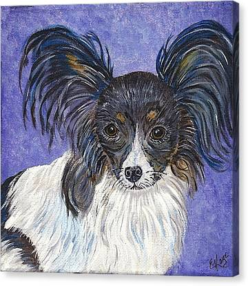 Canvas Print featuring the painting A Royal Papillon by Ella Kaye Dickey