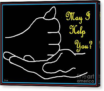 Pop Canvas Print - American Sign Language  May I Help You by Eloise Schneider