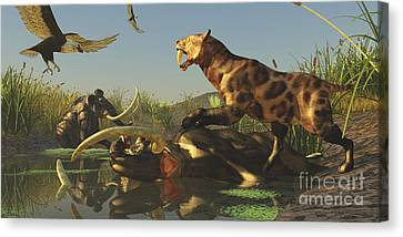 A Saber Tooth Cat Attacks A Woolly Canvas Print by Corey Ford