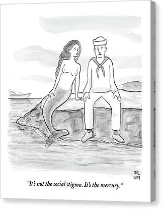 Break Canvas Print - A Sailor Breaks Up With His Naked Mermaid by Paul Noth