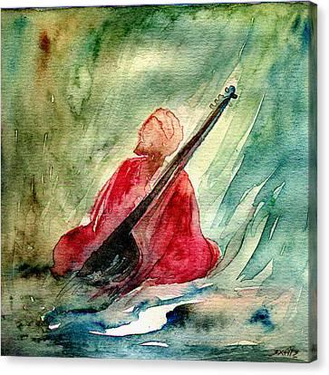Sikh Art Canvas Print - A Saint And His Sitar by TS Manhotra