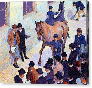 A Sale At Tattersalls, 1911 Canvas Print by Robert Polhill Bevan