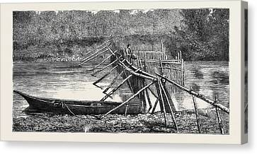 Vancouver Canvas Print - A Salmon Weir Near The Quamichan Indian Village by Canadian School