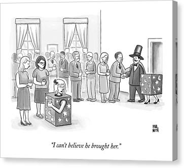 A Sawed-in-half Magician's Assistant Scowls Canvas Print by Paul Noth