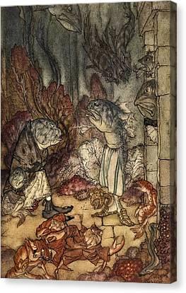 A Scaly Set Of Rascals, Illustration Canvas Print by Arthur Rackham