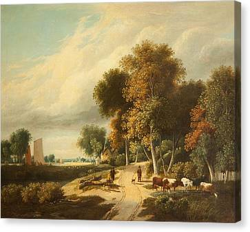 A Scene In Norfolk Canvas Print by Samuel David Colkett