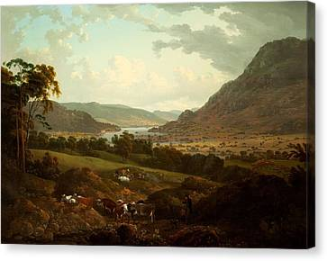 Cow Canvas Print - A Scene In The Lake District by Julius Caesar Ibbetson