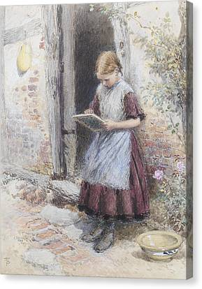 A School Girl Canvas Print by Myles Birket Foster