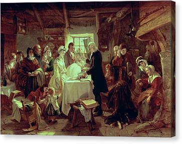 Baptising Canvas Print - A Scottish Christening by John Phillip