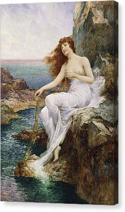 A Sea Nymph Seated On A Rock With A Ribbon Of Seaweed Canvas Print by Alfred Glendening Jr