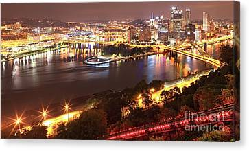 A Sea Of City Lights Canvas Print by Adam Jewell