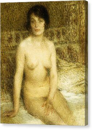 A Seated Nude Canvas Print by Ernest-Joseph Laurent