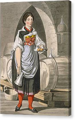 Cellar Canvas Print - A Serving Girl At An Inn by Josef Anton Kapeller