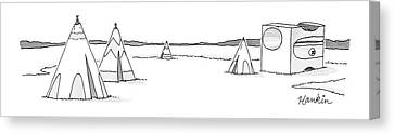 A Set Of Tepees Stands Next To A Large Pencil Canvas Print by Charlie Hankin